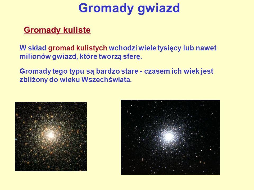 Gromady gwiazd W skład gromad kulistych wchodzi wiele tysięcy lub nawet milionów gwiazd, które tworzą sferę. Gromady tego typu są bardzo stare - czase