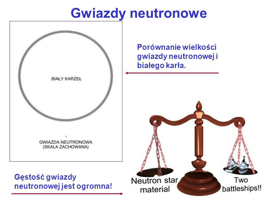 Gwiazdy neutronowe Porównanie wielkości gwiazdy neutronowej i białego karła. Gęstość gwiazdy neutronowej jest ogromna!