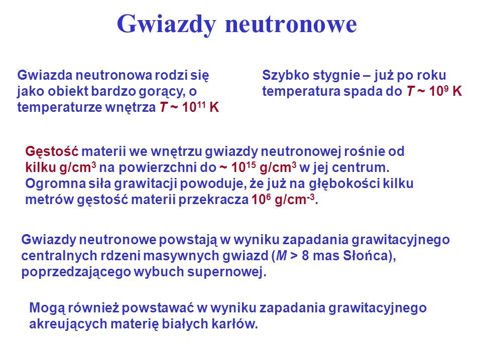 Gęstość materii we wnętrzu gwiazdy neutronowej rośnie od kilku g/cm 3 na powierzchni do ~ 10 15 g/cm 3 w jej centrum. Ogromna siła grawitacji powoduje