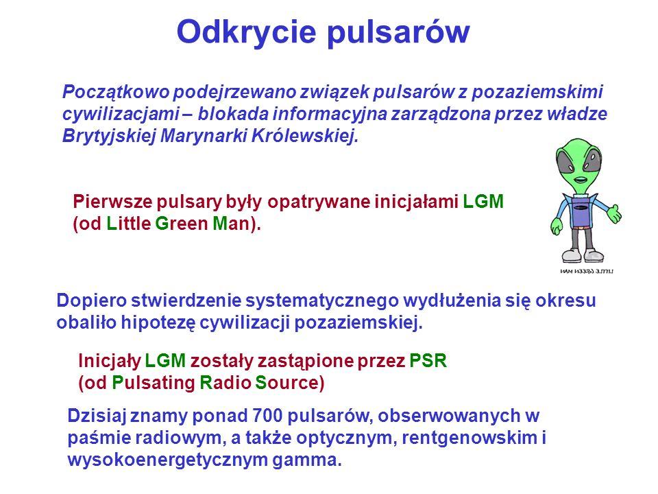 Pierwsze pulsary były opatrywane inicjałami LGM (od Little Green Man). Odkrycie pulsarów Początkowo podejrzewano związek pulsarów z pozaziemskimi cywi