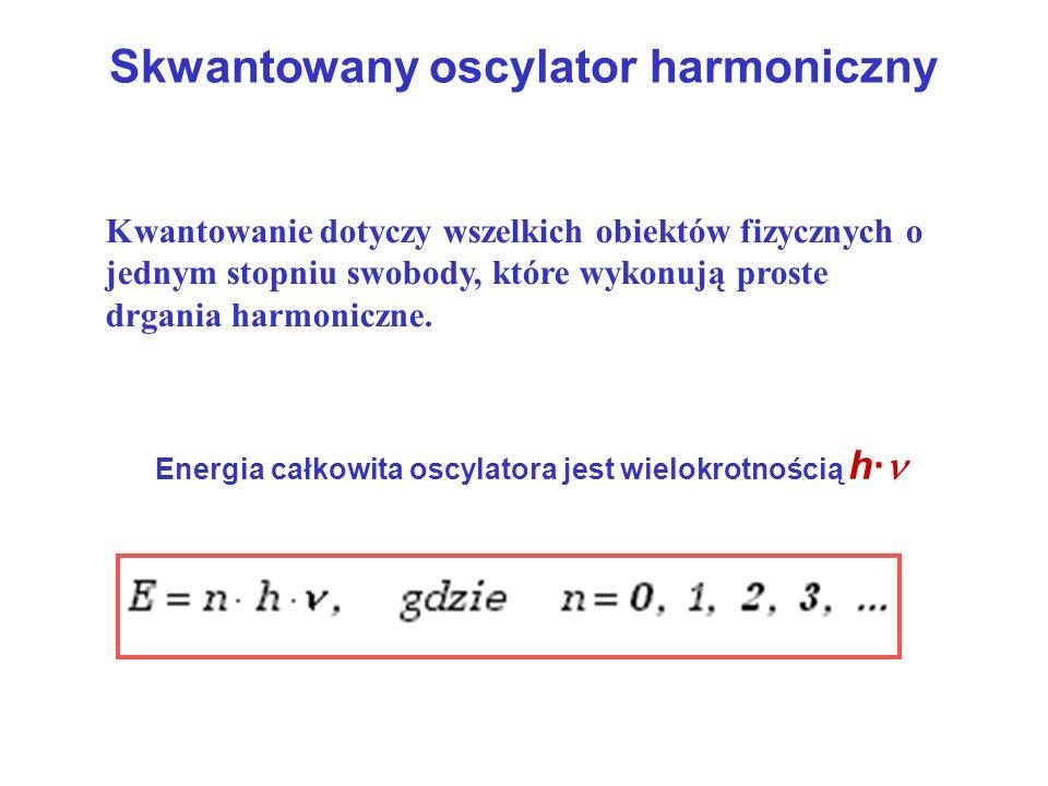 Skwantowany oscylator harmoniczny Energia całkowita oscylatora jest wielokrotnością h· Kwantowanie dotyczy wszelkich obiektów fizycznych o jednym stop