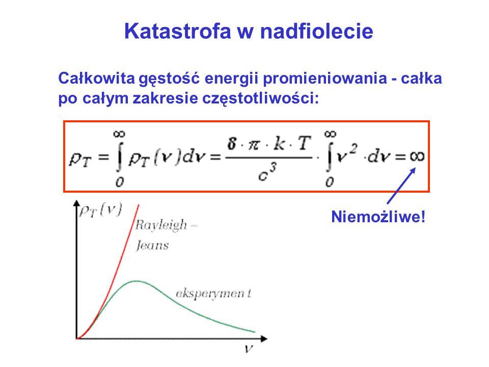 Wzór Plancka Najmniejsza energia kwantu: Średnia energia oscylatora: Dla małych :Dla wielkich : Promieniowanie emitowane w porcjach przez oscylatory, których energia: