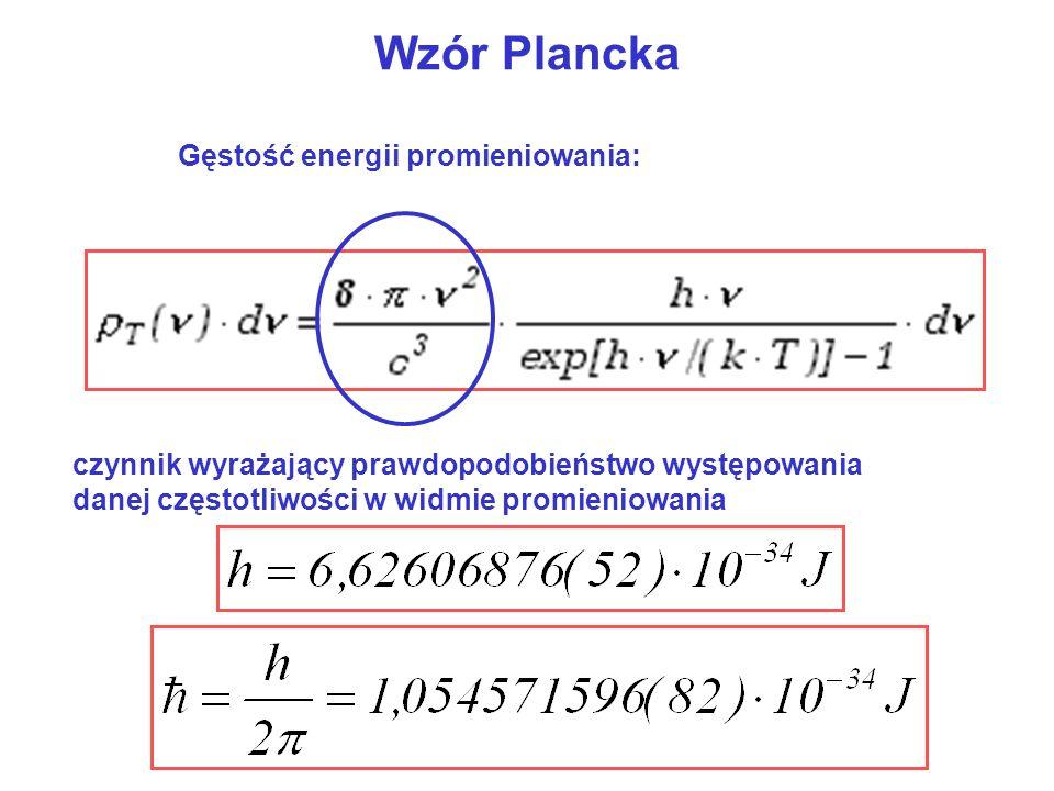 Promieniowanie ciała doskonale czarnego Rozkład Plancka określa energię du promieniowania na jednostkę objętości w zakresie długości fal od do +d Gdzie: T – temperatura, k – stała Boltzmanna (1,38 10 -23 J/K), c – prędkość światła, h – stała Plancka (6,63 10 -34 J s),