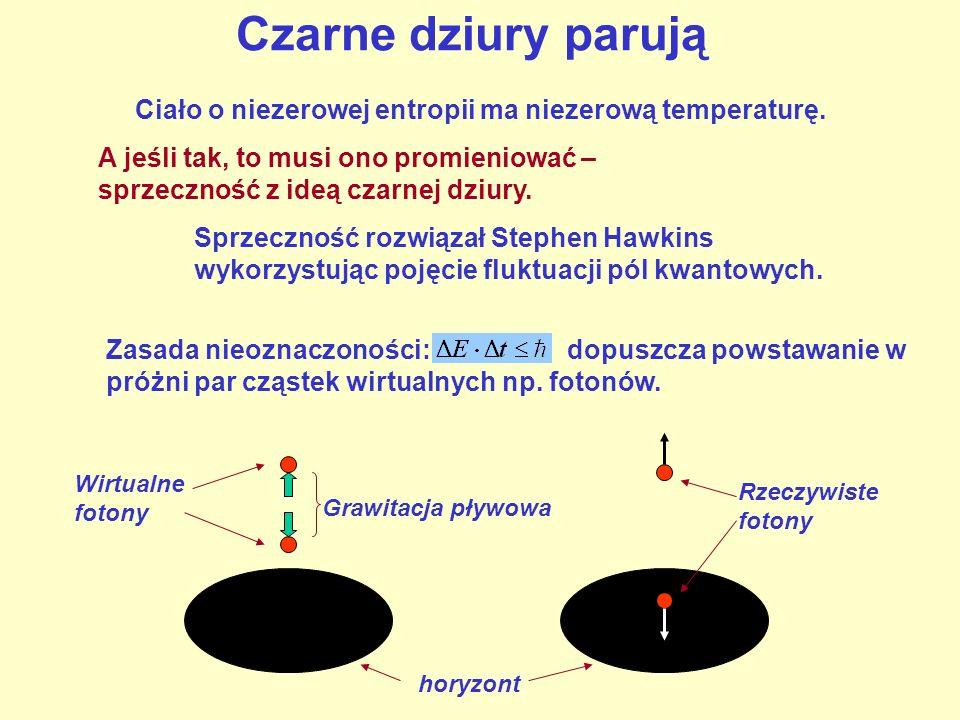 Czarne dziury parują Ciało o niezerowej entropii ma niezerową temperaturę. A jeśli tak, to musi ono promieniować – sprzeczność z ideą czarnej dziury.