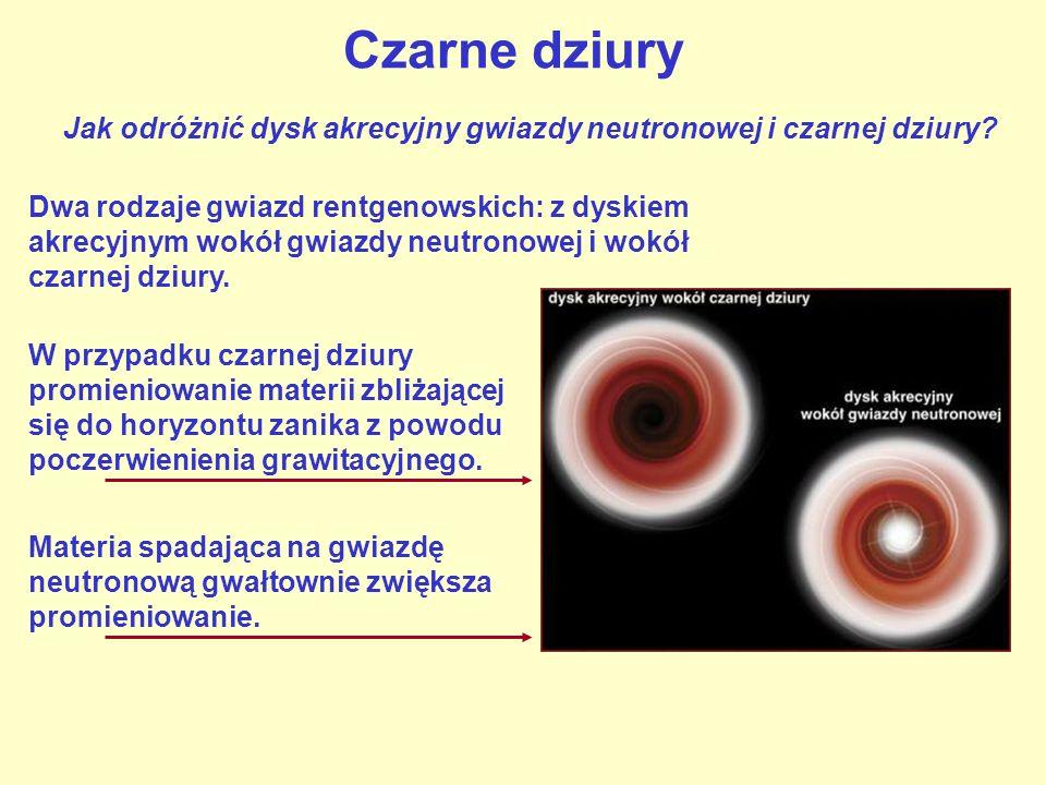 Czarne dziury Dwa rodzaje gwiazd rentgenowskich: z dyskiem akrecyjnym wokół gwiazdy neutronowej i wokół czarnej dziury. Jak odróżnić dysk akrecyjny gw