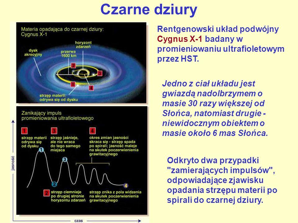 Czarne dziury Rentgenowski układ podwójny Cygnus X-1 badany w promieniowaniu ultrafioletowym przez HST. Jedno z ciał układu jest gwiazdą nadolbrzymem