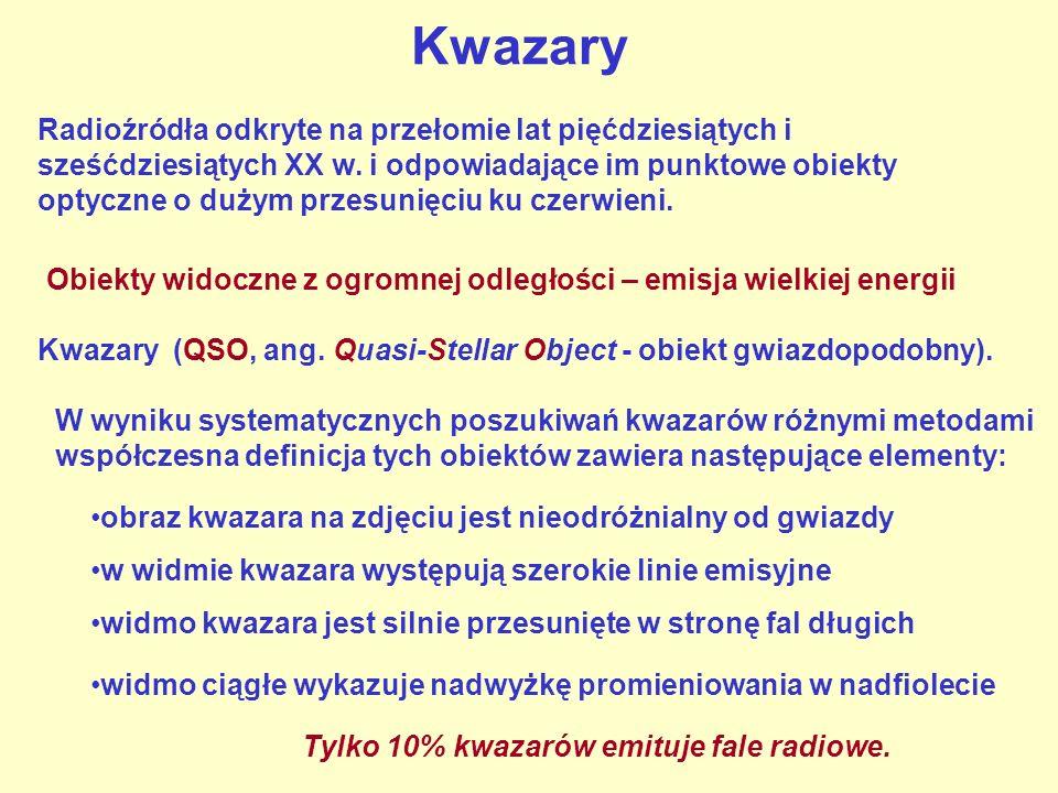 Kwazary Radioźródła odkryte na przełomie lat pięćdziesiątych i sześćdziesiątych XX w.