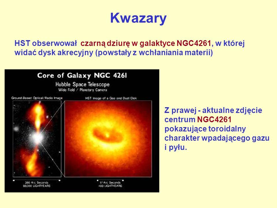 Kwazary HST obserwował czarną dziurę w galaktyce NGC4261, w której widać dysk akrecyjny (powstały z wchłaniania materii) Z prawej - aktualne zdjęcie centrum NGC4261 pokazujące toroidalny charakter wpadającego gazu i pyłu.