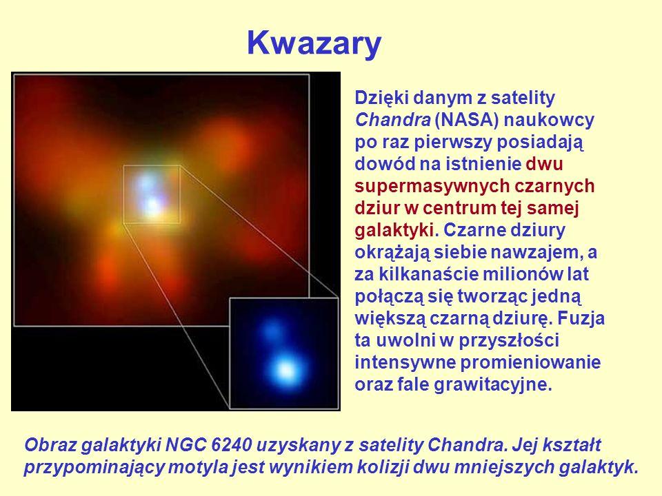 Kwazary Obraz galaktyki NGC 6240 uzyskany z satelity Chandra. Jej kształt przypominający motyla jest wynikiem kolizji dwu mniejszych galaktyk. Dzięki