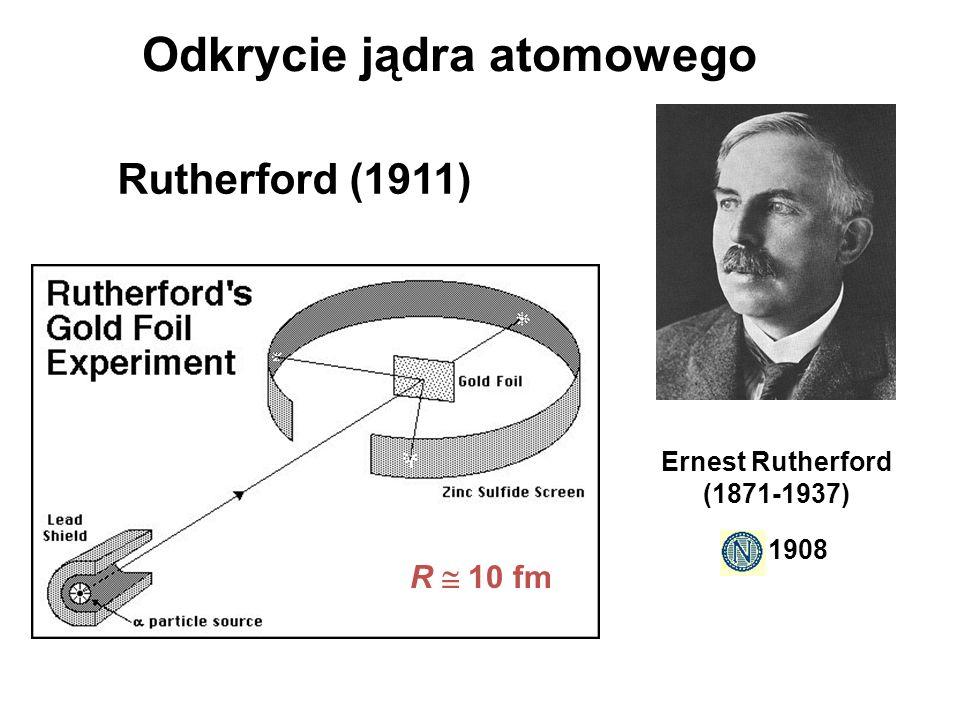 Rutherford (1911) R 10 fm Ernest Rutherford (1871-1937) 1908 Odkrycie jądra atomowego