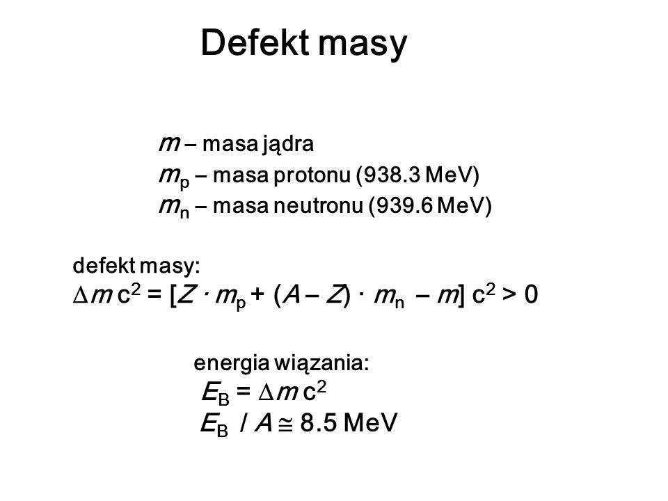 Defekt masy m – masa jądra m p – masa protonu (938.3 MeV) m n – masa neutronu (939.6 MeV) defekt masy: m c 2 = [Z · m p + (A – Z) · m n – m] c 2 > 0 e