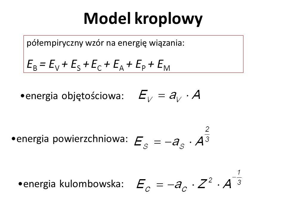 Model kroplowy energia objętościowa: energia powierzchniowa: półempiryczny wzór na energię wiązania: E B = E V + E S + E C + E A + E P + E M energia o