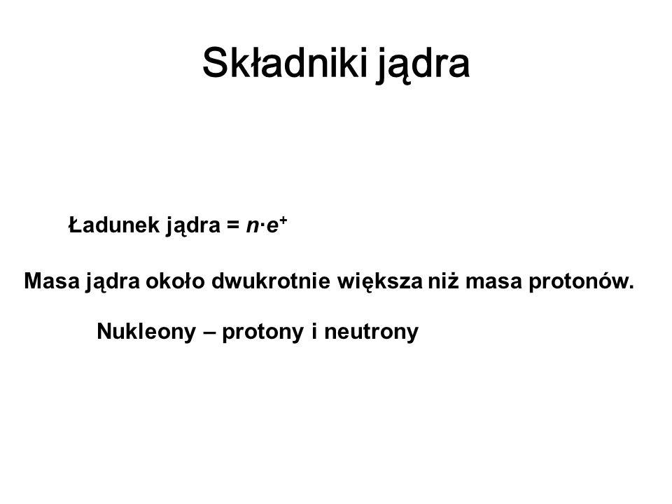 Składniki jądra Ładunek jądra = n·e + Masa jądra około dwukrotnie większa niż masa protonów. Nukleony – protony i neutrony