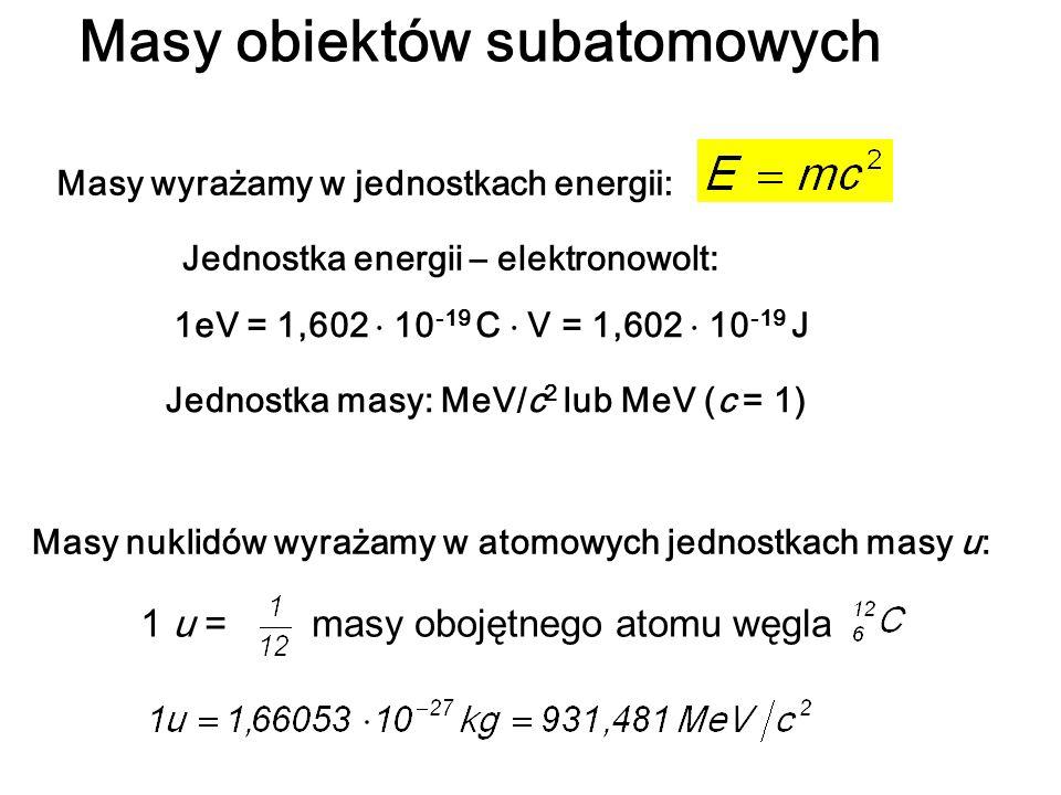 Świat jądrowy energia jonizacji atomu wodoru – 13.6 eV energia separacji nukleonu z jądra – 8.5 MeV 10 -5 10 0 10 510 10 15 10 20 gęstość [g/cm 3 ] Skala gęstości w mikro- i makroświecie: ciało stałe biały karzeł gwiazda neutronowa materia jądrowa czarna dziura ładunek: q = Zee = 1.6 · 10 -19 C