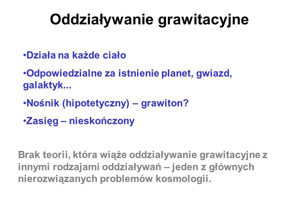 Oddziaływanie grawitacyjne Działa na każde ciało Odpowiedzialne za istnienie planet, gwiazd, galaktyk... Nośnik (hipotetyczny) – grawiton? Zasięg – ni