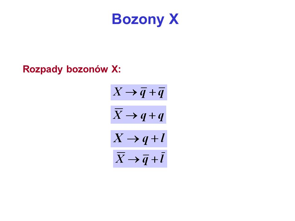 Bozony X Rozpady bozonów X: