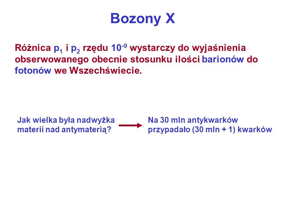 Bozony X Różnica p 1 i p 2 rzędu 10 -9 wystarczy do wyjaśnienia obserwowanego obecnie stosunku ilości barionów do fotonów we Wszechświecie. Jak wielka
