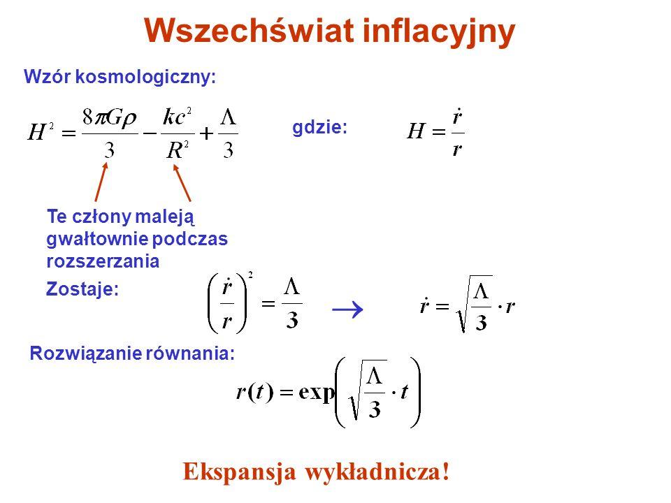 Wszechświat inflacyjny Wzór kosmologiczny: gdzie: Te człony maleją gwałtownie podczas rozszerzania Zostaje: Rozwiązanie równania: Ekspansja wykładnicz
