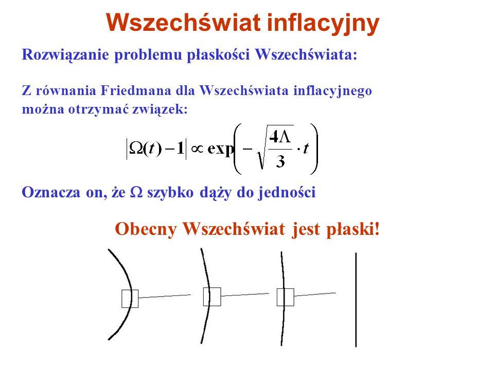 Rozwiązanie problemu płaskości Wszechświata: Wszechświat inflacyjny Z równania Friedmana dla Wszechświata inflacyjnego można otrzymać związek: Oznacza