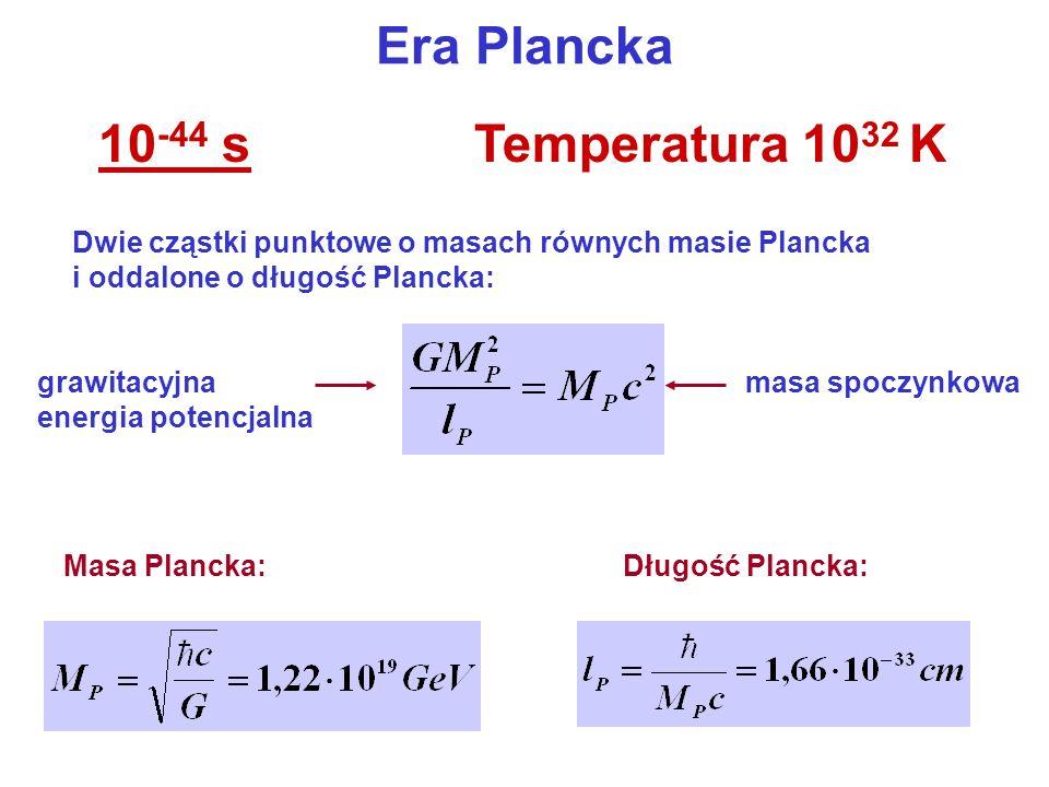 Era Plancka 10 -44 sTemperatura 10 32 K Dwie cząstki punktowe o masach równych masie Plancka i oddalone o długość Plancka: grawitacyjna energia potenc