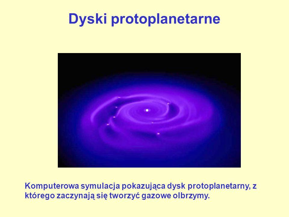 Dyski protoplanetarne Komputerowa symulacja pokazująca dysk protoplanetarny, z którego zaczynają się tworzyć gazowe olbrzymy.
