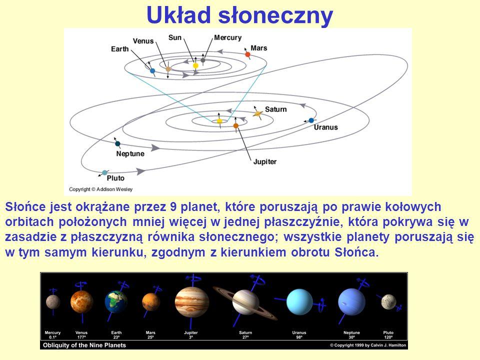 Układ słoneczny Słońce jest okrążane przez 9 planet, które poruszają po prawie kołowych orbitach położonych mniej więcej w jednej płaszczyźnie, która