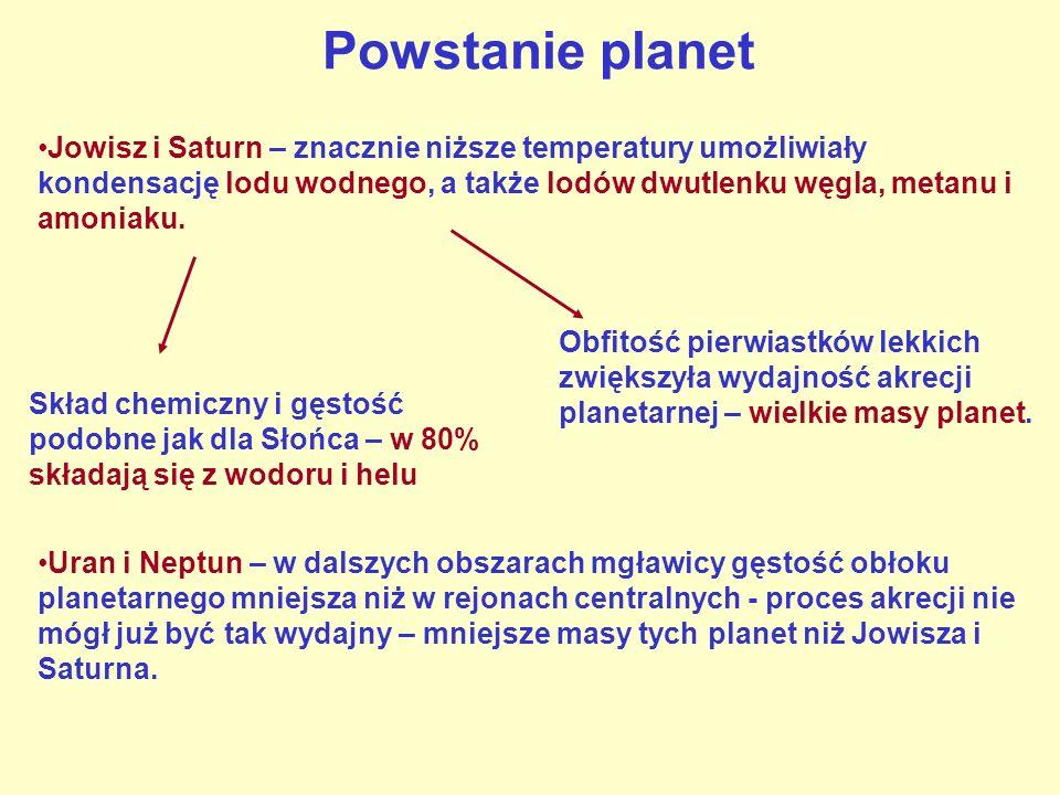 Powstanie planet Jowisz i Saturn – znacznie niższe temperatury umożliwiały kondensację lodu wodnego, a także lodów dwutlenku węgla, metanu i amoniaku.