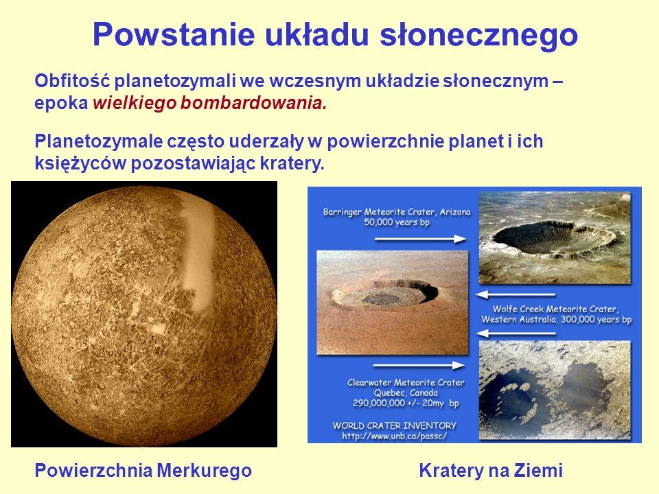 Powstanie układu słonecznego Planetozymale często uderzały w powierzchnie planet i ich księżyców pozostawiając kratery. Powierzchnia Merkurego Kratery