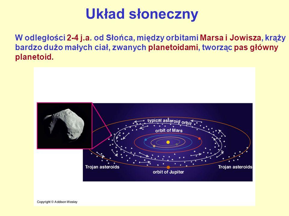 Układ słoneczny W odległości 2-4 j.a. od Słońca, między orbitami Marsa i Jowisza, krąży bardzo dużo małych ciał, zwanych planetoidami, tworząc pas głó