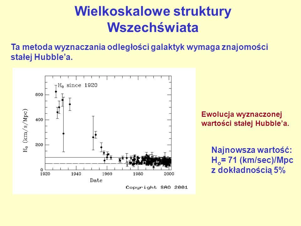 Wielkoskalowe struktury Wszechświata Ta metoda wyznaczania odległości galaktyk wymaga znajomości stałej Hubblea. Ewolucja wyznaczonej wartości stałej