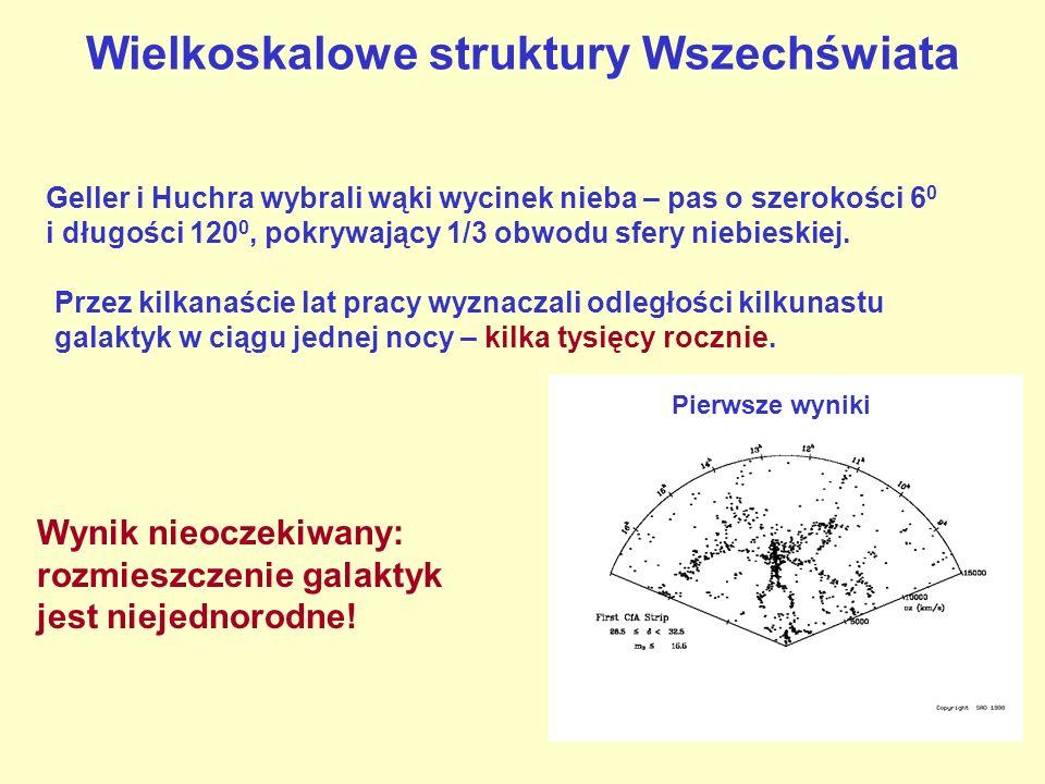 Wielkoskalowe struktury Wszechświata Geller i Huchra wybrali wąki wycinek nieba – pas o szerokości 6 0 i długości 120 0, pokrywający 1/3 obwodu sfery