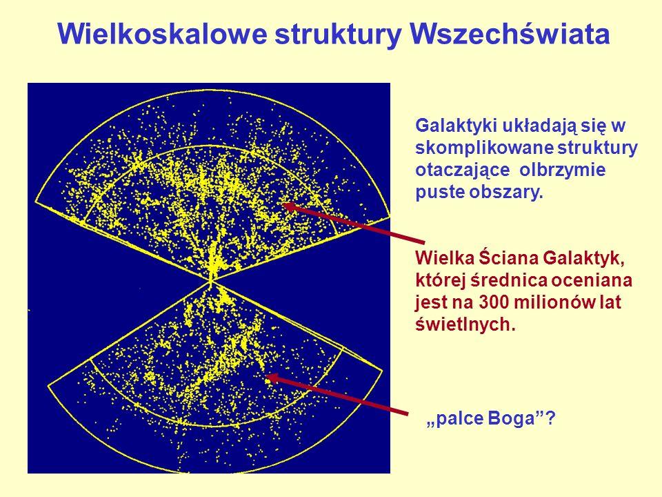 Wielkoskalowe struktury Wszechświata Galaktyki układają się w skomplikowane struktury otaczające olbrzymie puste obszary. Wielka Ściana Galaktyk, któr