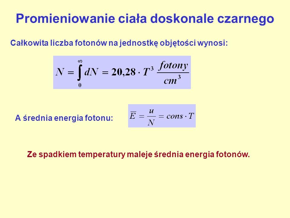 Promieniowanie ciała doskonale czarnego Całkowita liczba fotonów na jednostkę objętości wynosi: A średnia energia fotonu: Ze spadkiem temperatury male