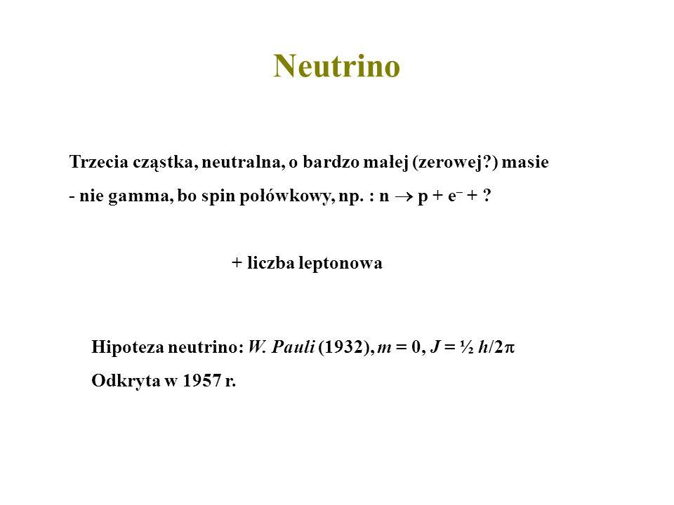 Trzecia cząstka, neutralna, o bardzo małej (zerowej?) masie - nie gamma, bo spin połówkowy, np. : n p + e – + ? Hipoteza neutrino: W. Pauli (1932), m