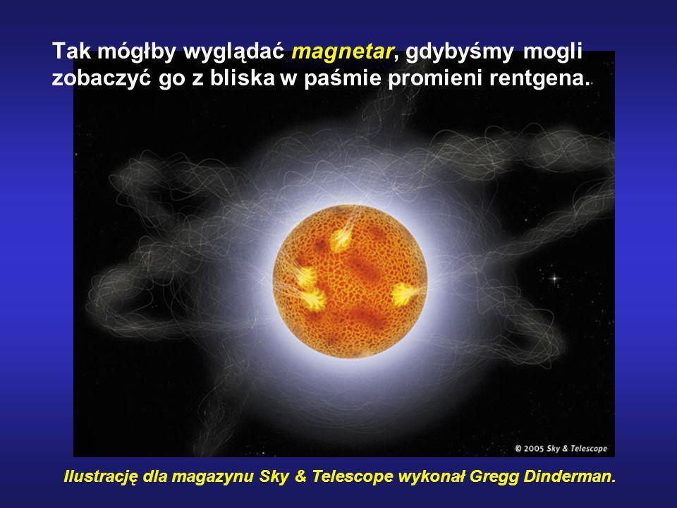 Ilustrację dla magazynu Sky & Telescope wykonał Gregg Dinderman. Tak mógłby wyglądać magnetar, gdybyśmy mogli zobaczyć go z bliska w paśmie promieni r