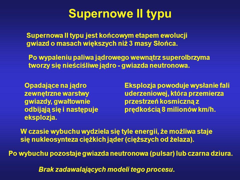 Supernowe II typu Supernowa II typu jest końcowym etapem ewolucji gwiazd o masach większych niż 3 masy Słońca. Po wypaleniu paliwa jądrowego wewnątrz