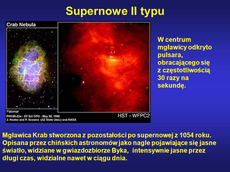 Supernowe II typu Mgławica Krab stworzona z pozostałości po supernowej z 1054 roku. Opisana przez chińskich astronomów jako nagle pojawiające się jasn