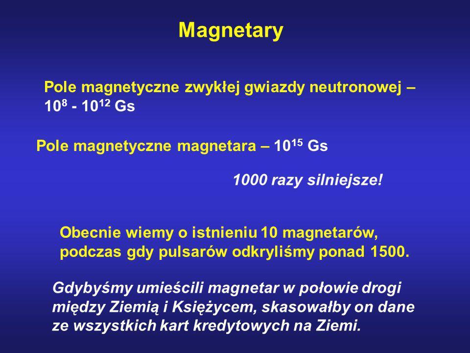 Magnetary Pole magnetyczne zwykłej gwiazdy neutronowej – 10 8 - 10 12 Gs Pole magnetyczne magnetara – 10 15 Gs 1000 razy silniejsze! Gdybyśmy umieścil