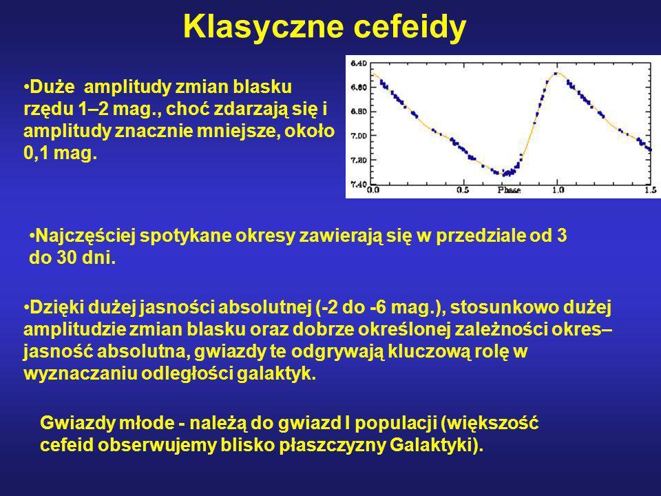 Klasyczne cefeidy Dzięki dużej jasności absolutnej (-2 do -6 mag.), stosunkowo dużej amplitudzie zmian blasku oraz dobrze określonej zależności okres–