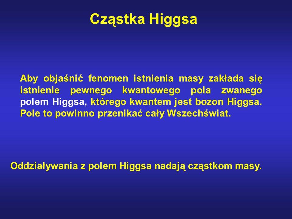 Cząstka Higgsa Aby objaśnić fenomen istnienia masy zakłada się istnienie pewnego kwantowego pola zwanego polem Higgsa, którego kwantem jest bozon Higg