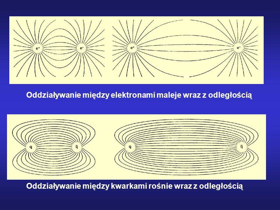 Oddziaływanie między kwarkami rośnie wraz z odległością Oddziaływanie między elektronami maleje wraz z odległością