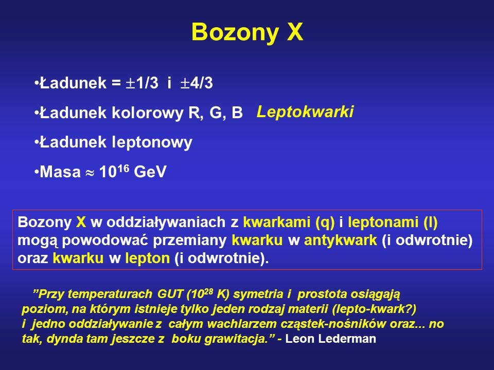 Bozony X Ładunek = 1/3 i 4/3 Ładunek kolorowy R, G, B Ładunek leptonowy Masa 10 16 GeV Bozony X w oddziaływaniach z kwarkami (q) i leptonami (l) mogą