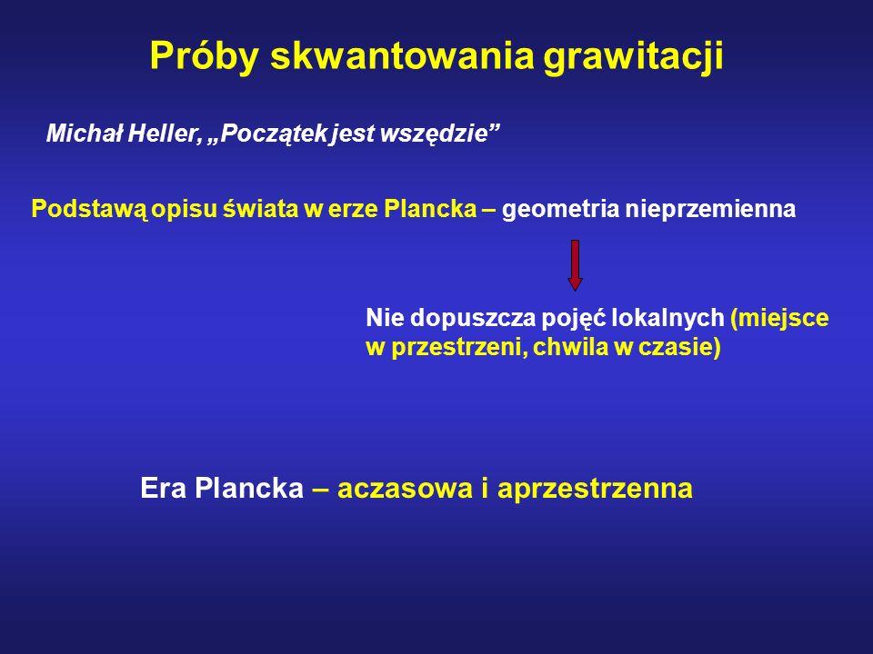 Próby skwantowania grawitacji Michał Heller, Początek jest wszędzie Podstawą opisu świata w erze Plancka – geometria nieprzemienna Nie dopuszcza pojęć
