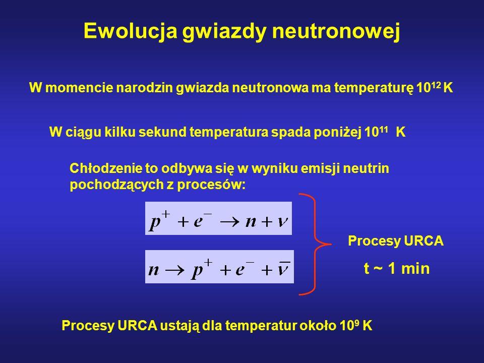 Ewolucja gwiazdy neutronowej W momencie narodzin gwiazda neutronowa ma temperaturę 10 12 K W ciągu kilku sekund temperatura spada poniżej 10 11 K Chłodzenie to odbywa się w wyniku emisji neutrin pochodzących z procesów: Procesy URCA ustają dla temperatur około 10 9 K Procesy URCA t ~ 1 min