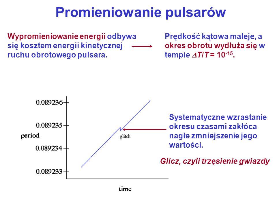 Promieniowanie pulsarów Prędkość kątowa maleje, a okres obrotu wydłuża się w tempie T/T = 10 -15.