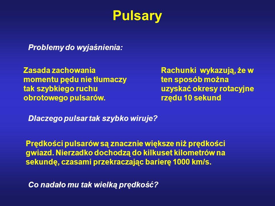 Pulsary Prędkości pulsarów są znacznie większe niż prędkości gwiazd.