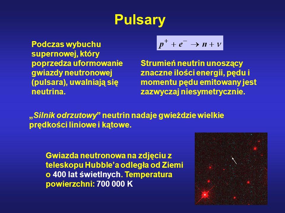 Podczas wybuchu supernowej, który poprzedza uformowanie gwiazdy neutronowej (pulsara), uwalniają się neutrina.