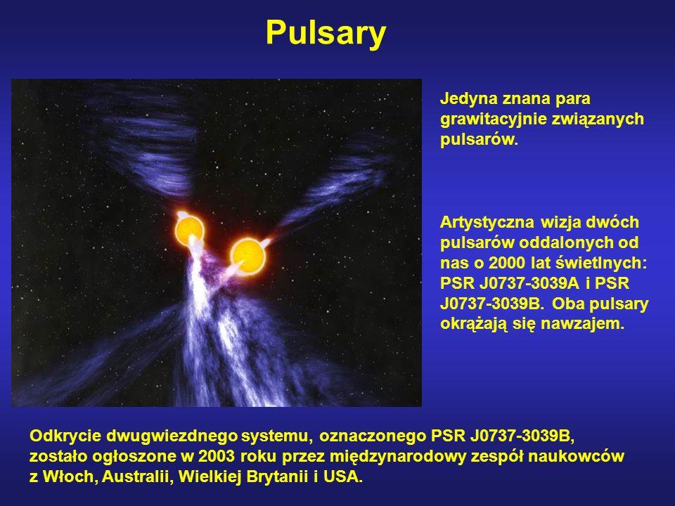 Pulsary Artystyczna wizja dwóch pulsarów oddalonych od nas o 2000 lat świetlnych: PSR J0737-3039A i PSR J0737-3039B.