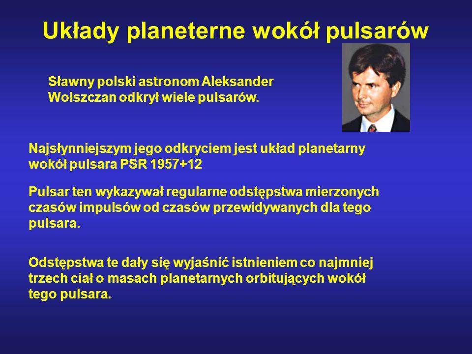 Układy planeterne wokół pulsarów Najsłynniejszym jego odkryciem jest układ planetarny wokół pulsara PSR 1957+12 Pulsar ten wykazywał regularne odstępstwa mierzonych czasów impulsów od czasów przewidywanych dla tego pulsara.