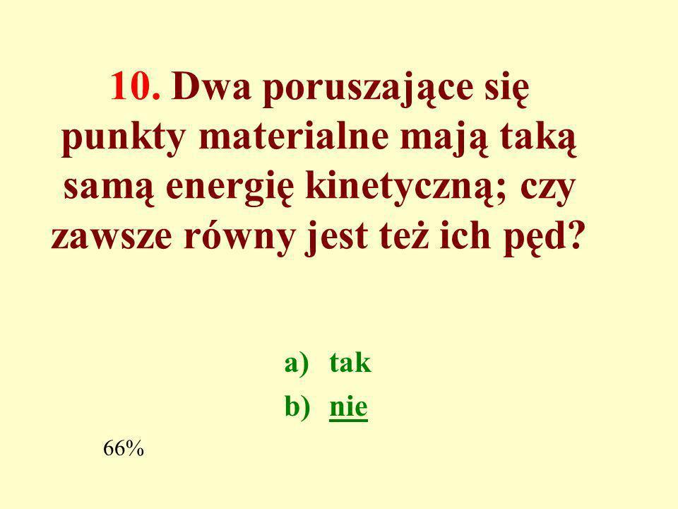 9. Czy siła dośrodkowa działająca na punkt materialny w ruchu jednostajnym po okręgu wykonuje pracę? a)tak b)nie 44%
